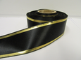 Black  with Metallic Gold Tramlines Satin Ribbon  2 or 20 metres 25mm 38mm Roll